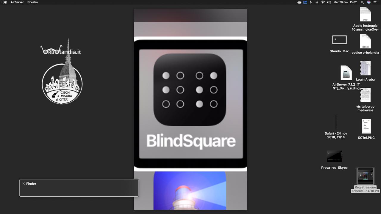 immagine di uno schermo iMac con il logo di BlindSquare