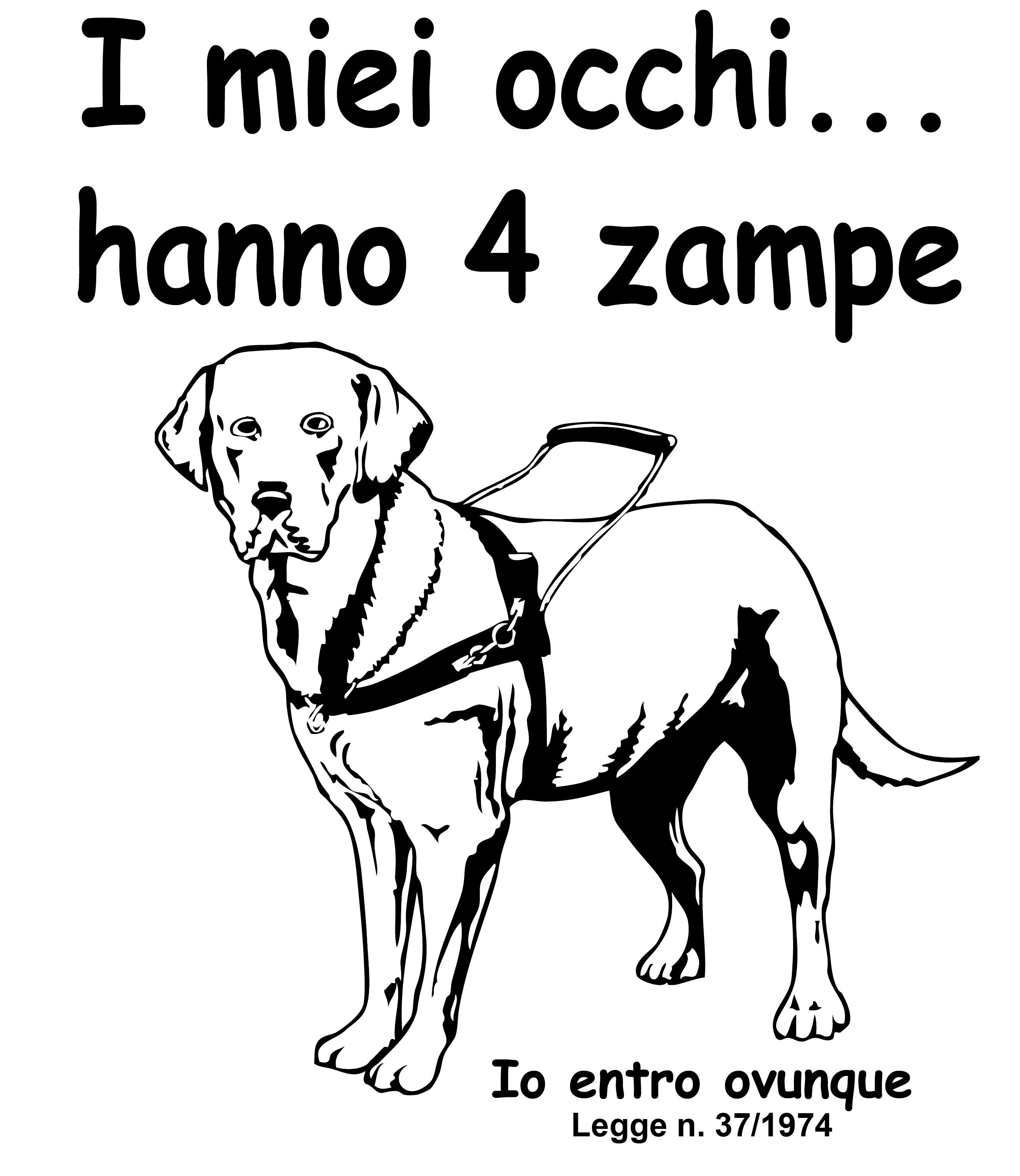 immagine di un cane guida stilizzato bianco su sfondo nero con la scritta i miei occhi hanno 4 zampe