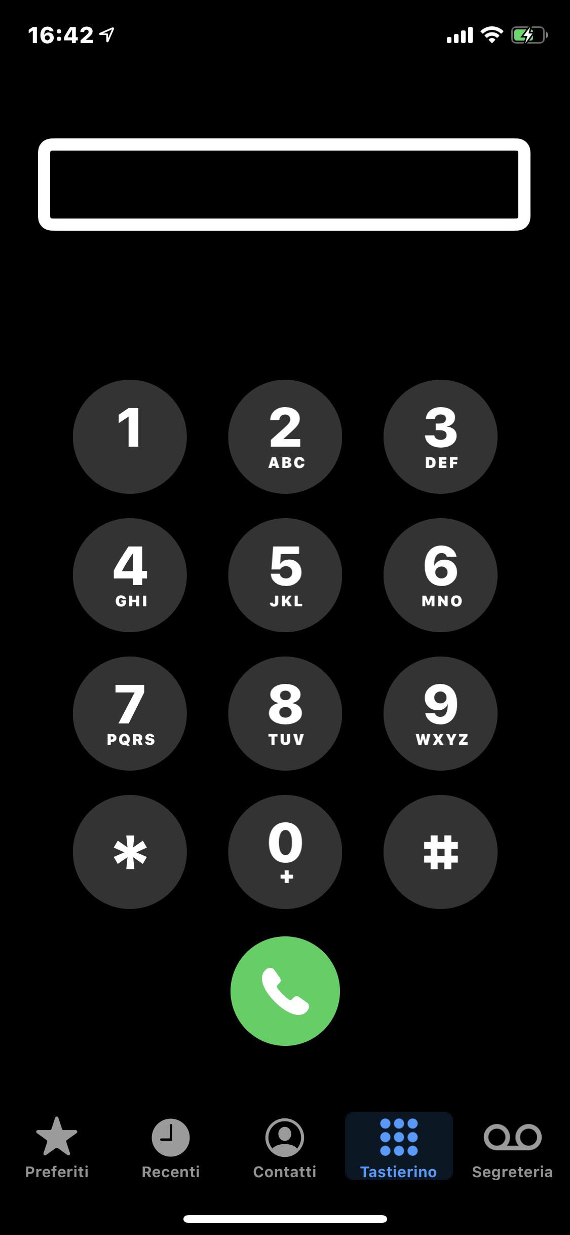 screenshot della pagina dell'App telefono