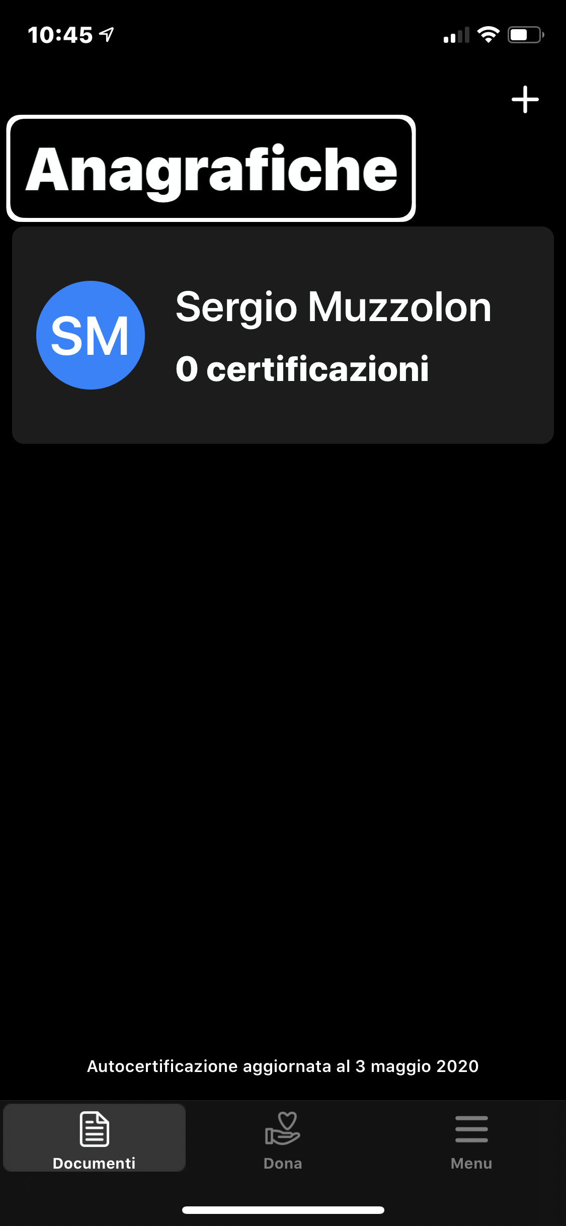 screenshot dell'iPhone con la home di AutoCert19