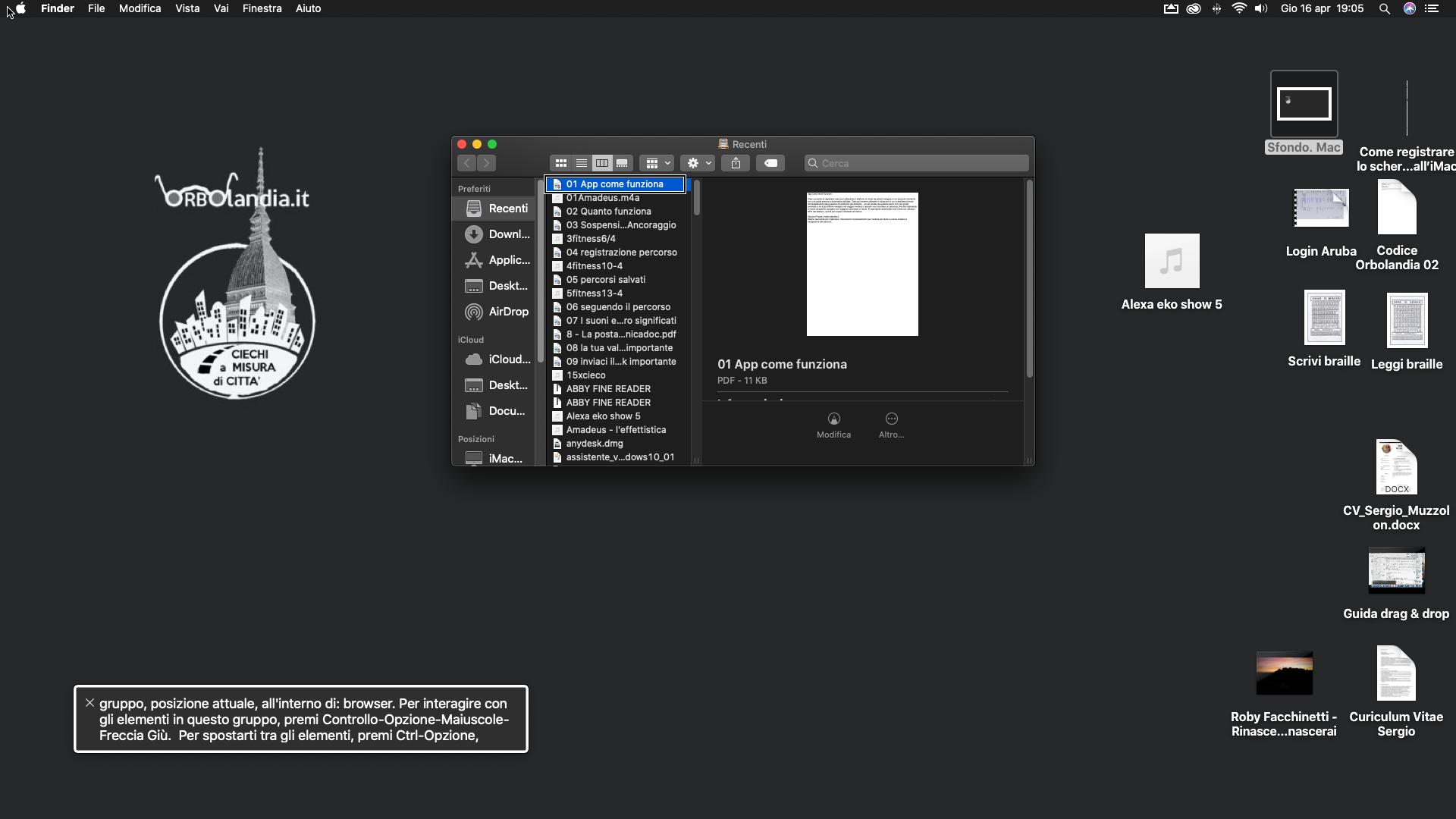 screenshot dello schermo di un iMac