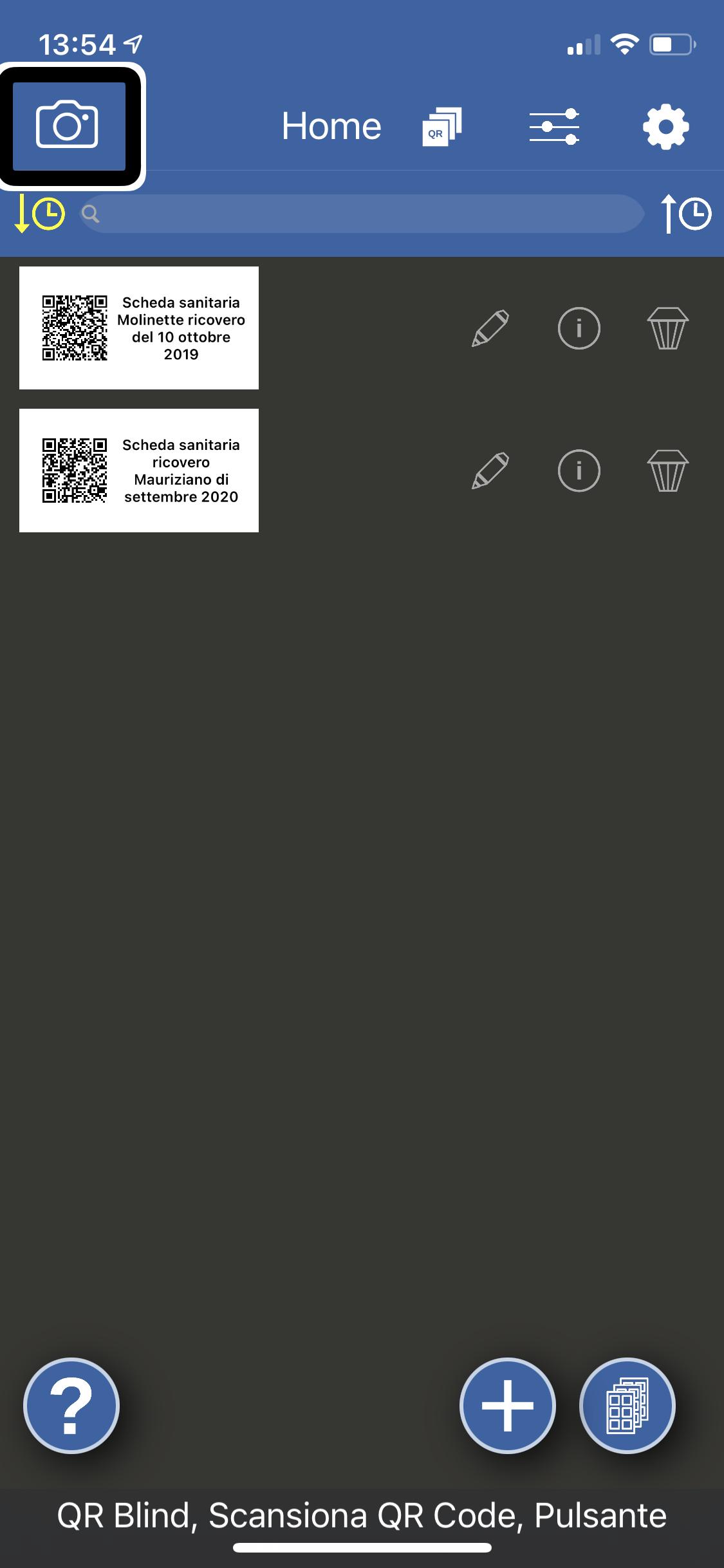 Nell'immagine un iPhone con aperta l'app di QR Blind alla pagina home