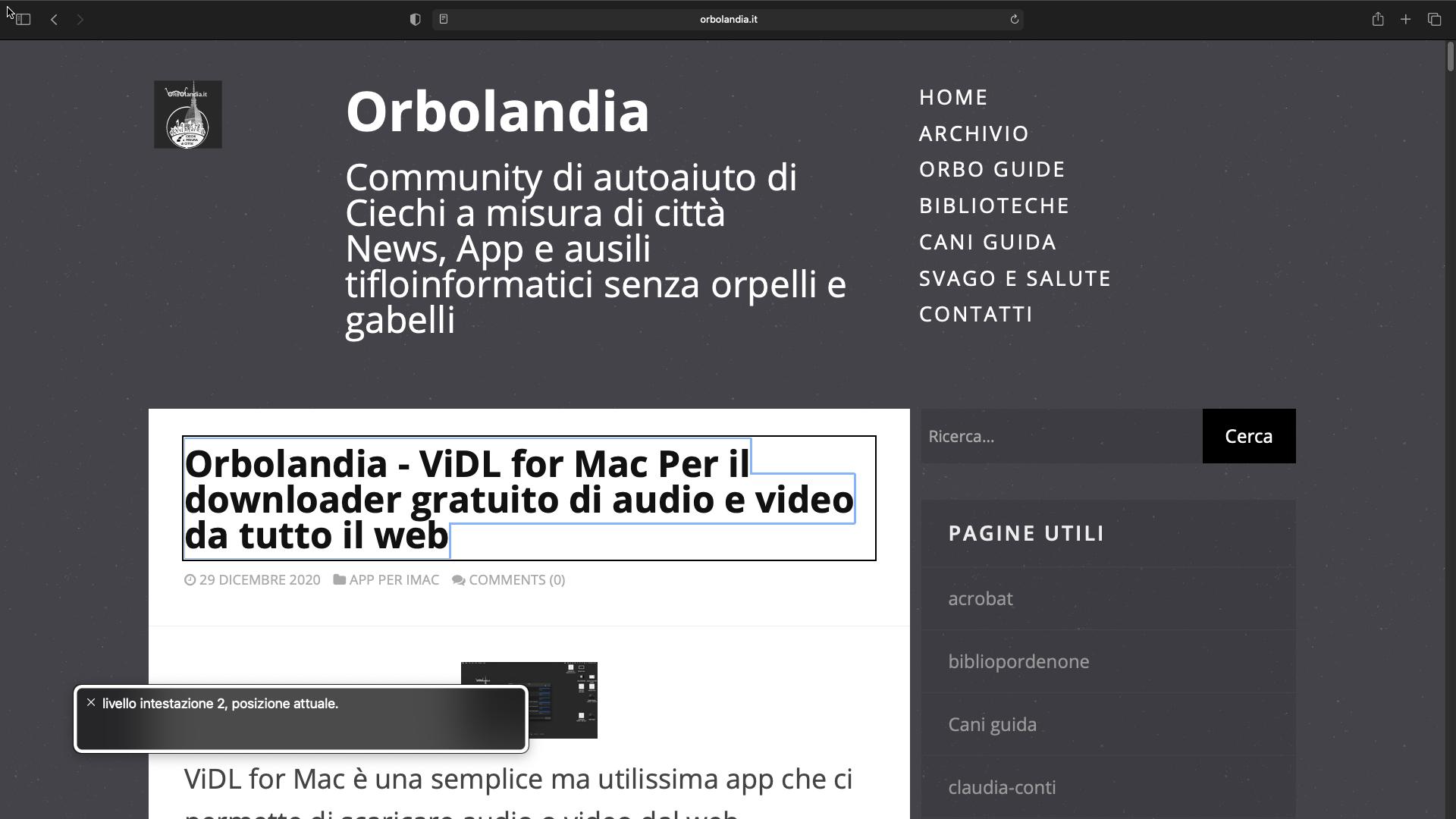Nell'immagine una schermata dell'iMac mentre si naviga il sito di orbolandia.it